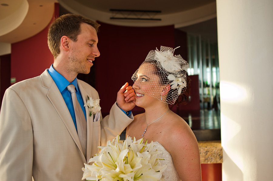 Bride and groom after ceremony at Azul Fives