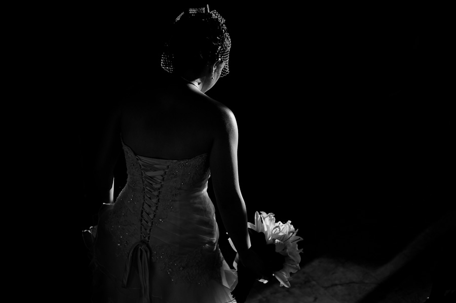 Bride black and white wedding portrait at Azul Fives