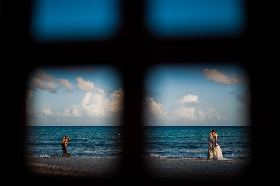 Creative portrait at Azul Fives Wedding on the beach