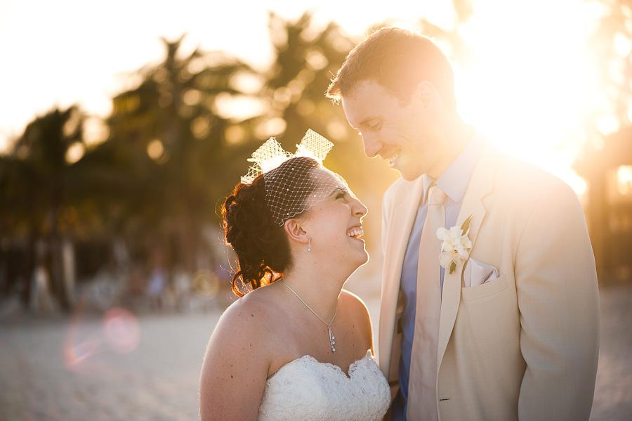 Gorgeous light, couples portrait at Azul Fives beach