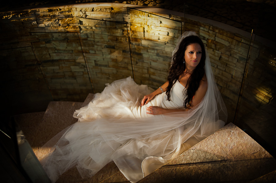 Beautiful portrait of the bride on stairs at Rosewood Mayakoba