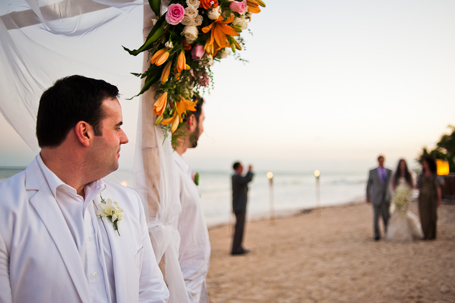 Beach ceremony in Mayakoba, groom waiting for bride at the gazebo