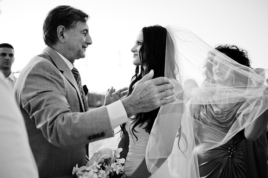 Dad giving away the bride, beach ceremony in Mayakoba, Riviera Maya