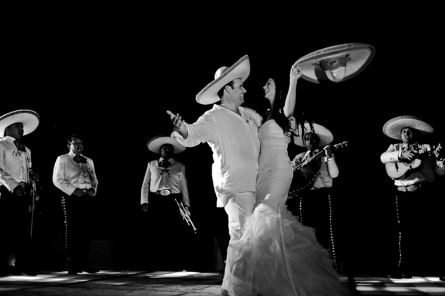 Bride and groom first dance with Mariachi at their beach reception in Mayakoba at their Rosewood Wedding