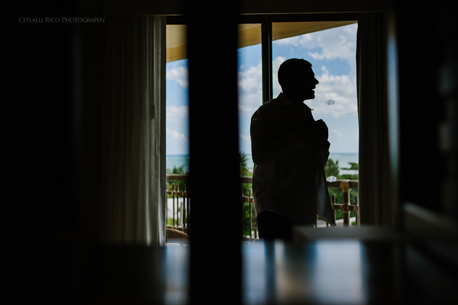 Groom silhouette getting ready Beach wedding SC Dreams Riviera Maya Mexico