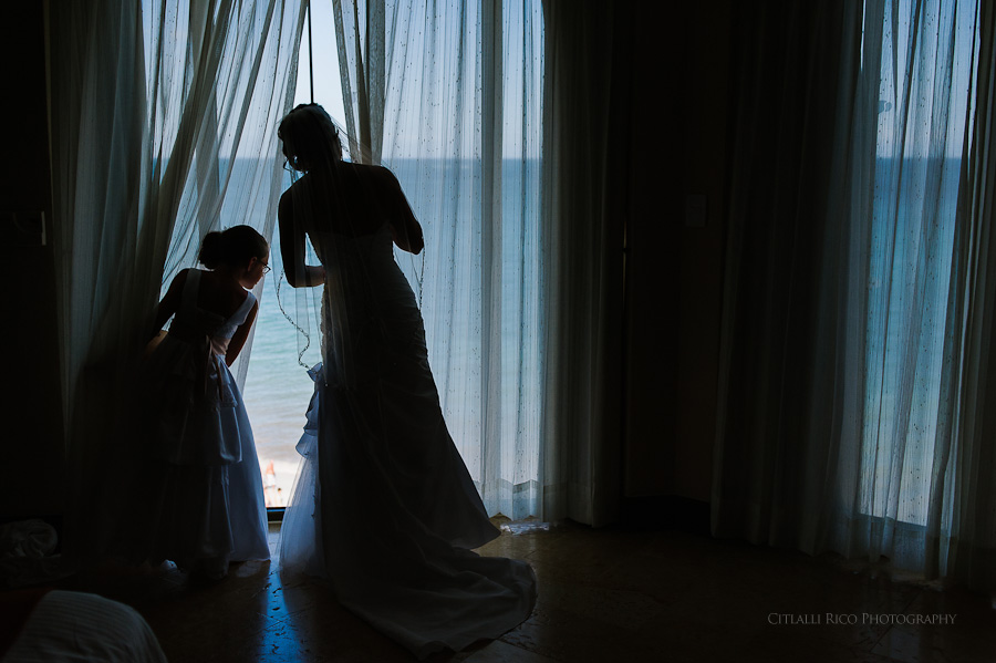 Bride getting ready excitement Beach wedding SC Dreams Riviera Maya Mexico