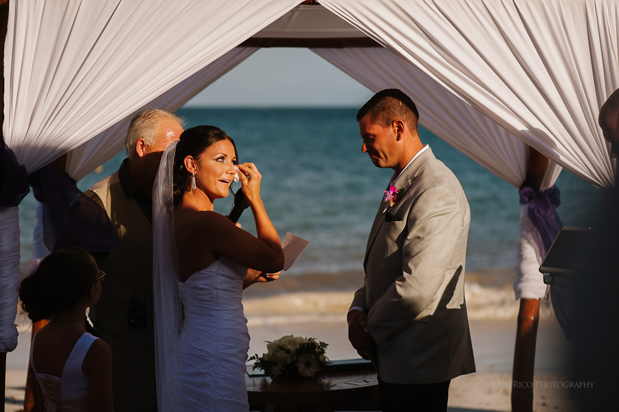 Bride and groom ceremony emotional Beach wedding SC Dreams Riviera Maya Mexico