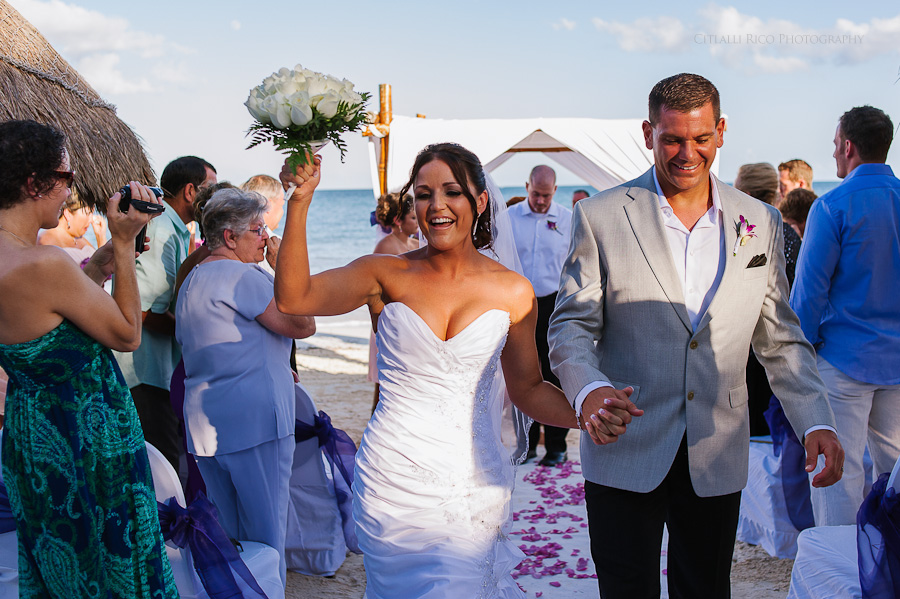 Bride and groom walking out the isle Beach wedding SC Dreams Riviera Maya Mexico