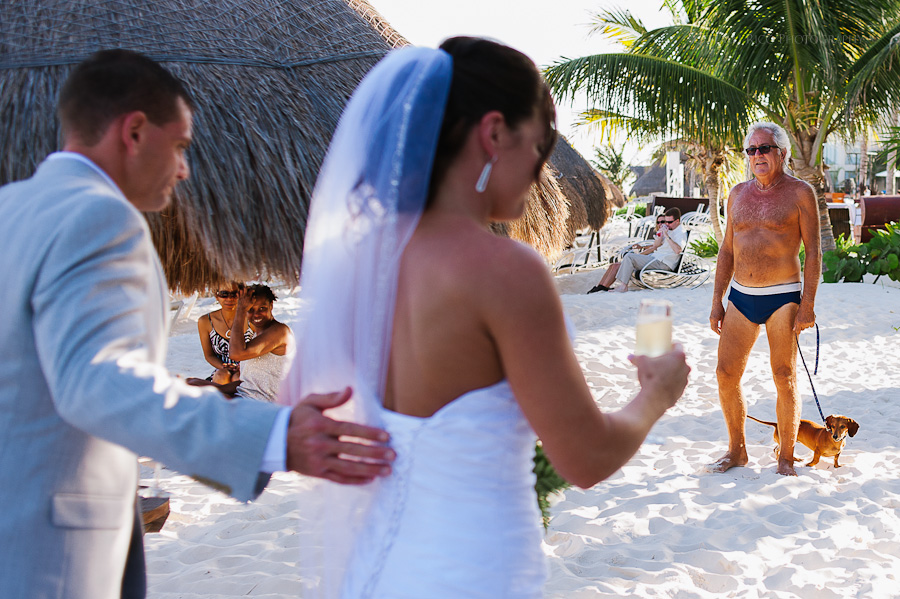 Bride groom speedo guy funny Beach wedding SC Dreams Riviera Maya Mexico