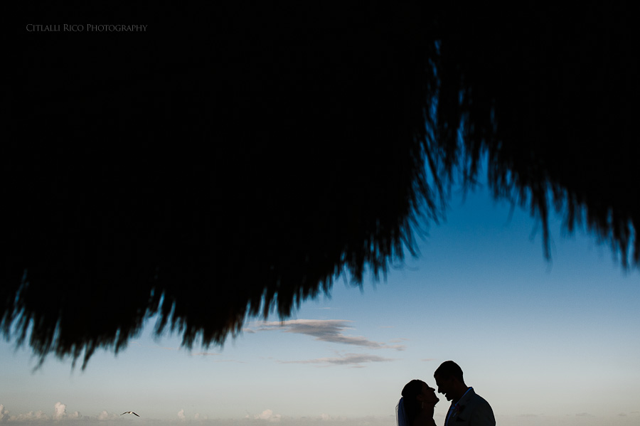 Bride and groom Silhouette portrait Beach wedding SC Dreams Riviera Maya Mexico