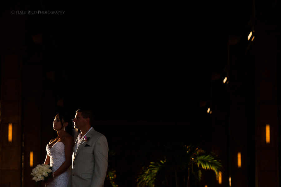 Bride and groom portrait Beach wedding SC Dreams Riviera Maya Mexico