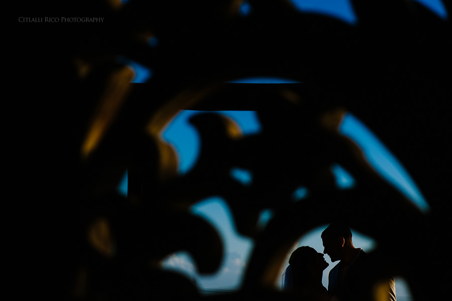 Bride and groom silhouettes Beach wedding SC Dreams Riviera Maya Mexico