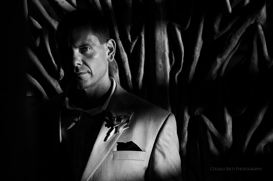 Groom portrait black and white Beach wedding SC Dreams Riviera Maya Mexico