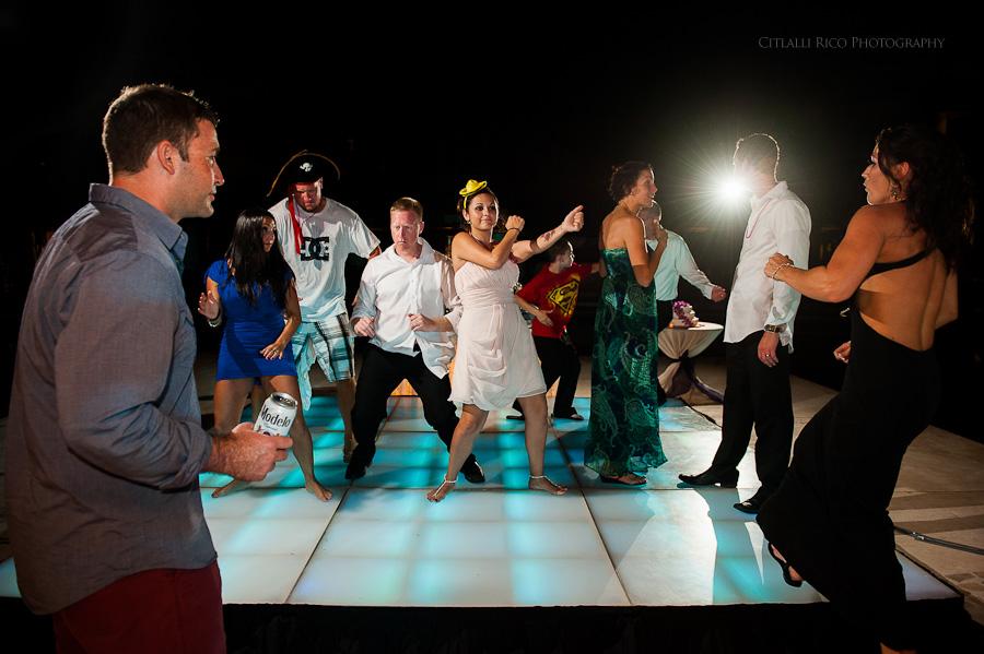 party dance Beach wedding SC Dreams Riviera Maya Mexico