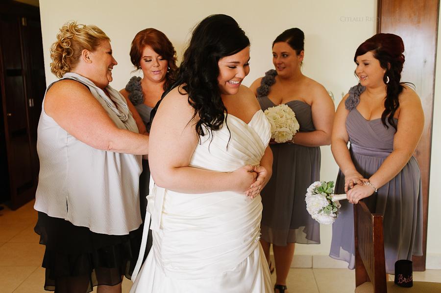 Bride and bridesmaids getting ready happy Cancun mexico beach wedding SJ Bay Blue Grand