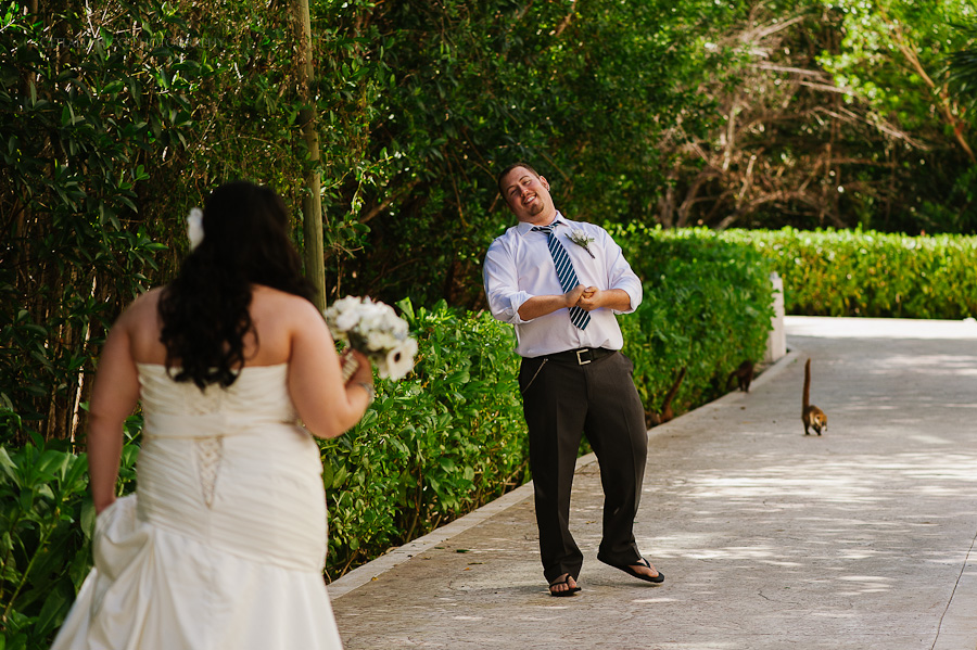 Bride and grooms first look Happy in love Cancun mexico beach wedding SJ Bay Blue Grand
