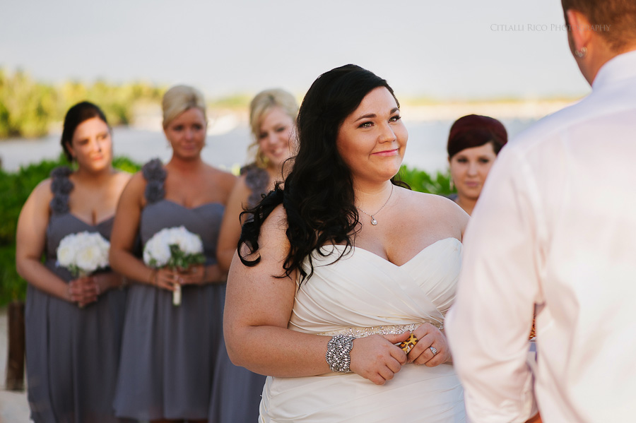 Bride crying ceremony sweet moments Cancun mexico beach wedding SJ Bay Blue Grand