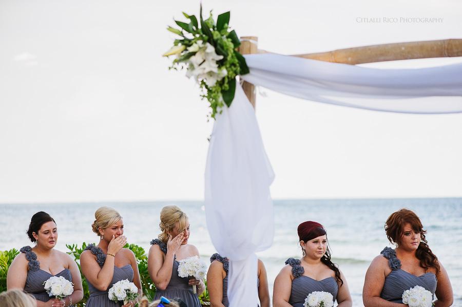 Emotional bridesmaids Cancun mexico beach wedding SJ Bay Blue Grand