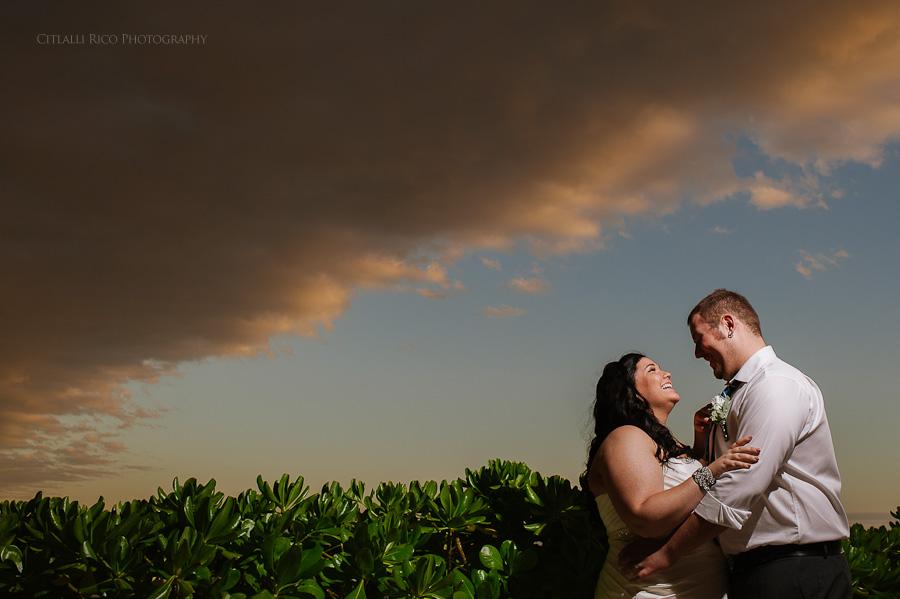 Bride and groom portrait clouds beach wedding SJ-Bay-Blue-Grand-Wedding-017