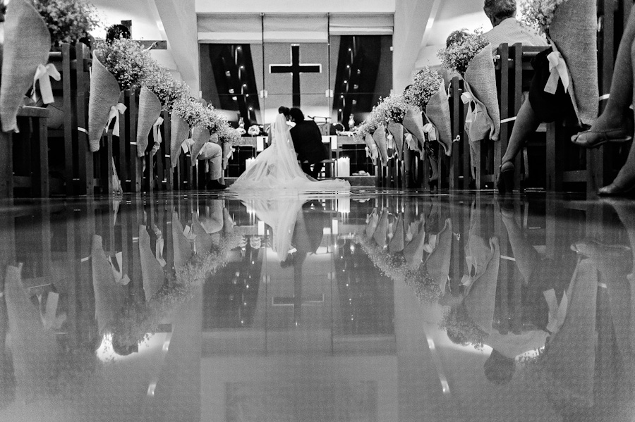 Bride and groom church ceremony reflection Cancun Mexico Wedding SC-Boda-Cancun-137