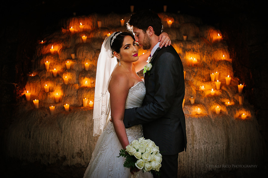 Bride and groom portrait candles GT Xcaret Wedding Photos