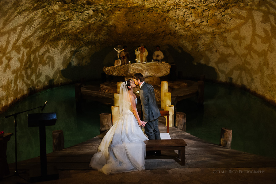 Fairytale church bride and groom first kiss GT Xcaret Wedding Photos