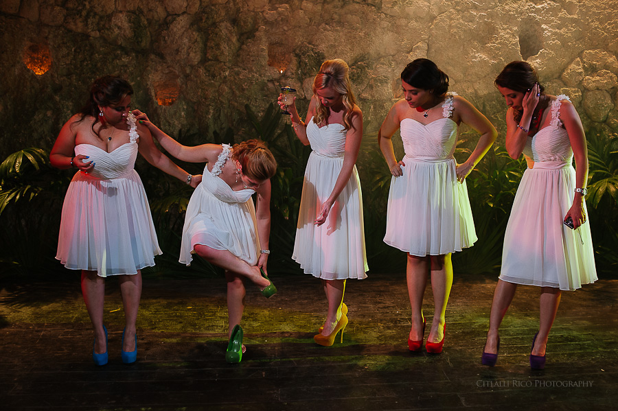 Bridesmaids rainbow shoes GT Xcaret Wedding Photos