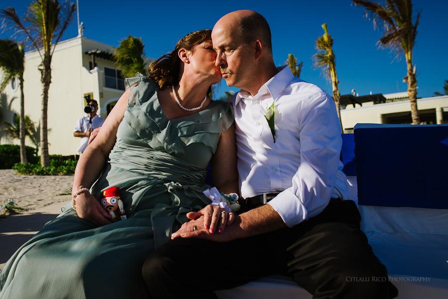 Brides parents share a moment Wendy Adam Beach wedding Dreams Tulum