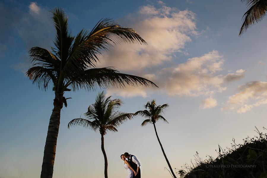 Bride and groom portrait palmtrees Wendy Adam Beach wedding Dreams Tulum