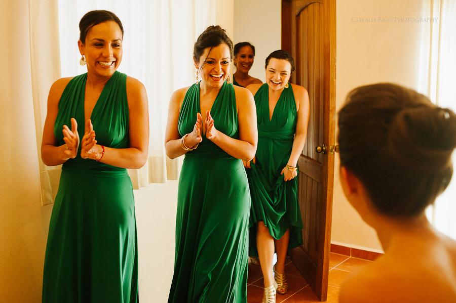 Bride getting ready bridesmaids reaction Lola y Bobby Ana Y Jose Tulum Mexico Wedding