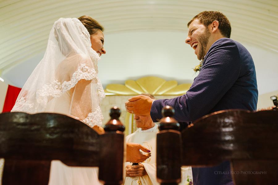 Bride and groom ceremony funny Lola y Bobby Ana Y Jose Tulum Mexico Wedding