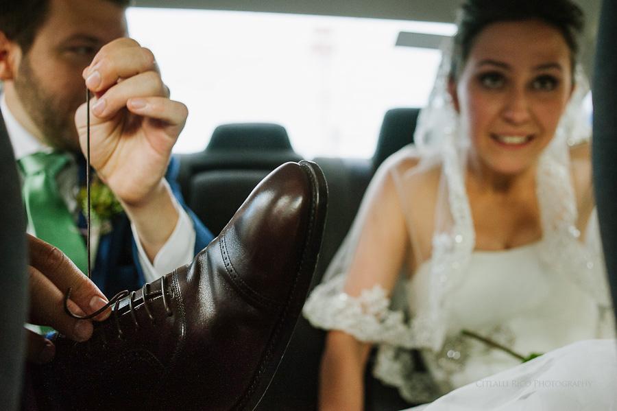 Bride and groom driving to reception Lola y Bobby Ana Y Jose Tulum Mexico Wedding