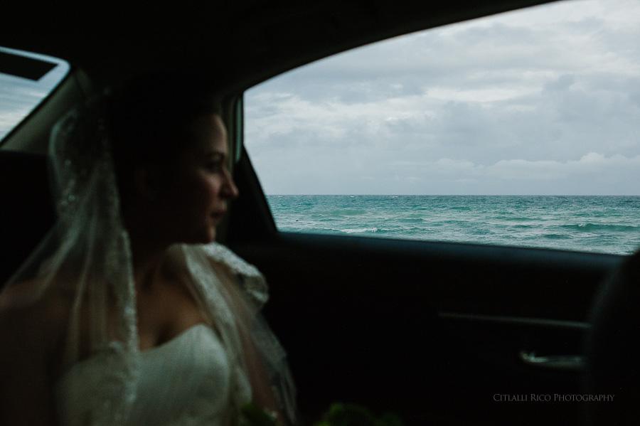 Bride driving to reception Lola y Bobby Ana Y Jose Tulum Mexico Wedding