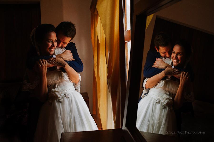 Bride and groom portrait reflection Lola y Bobby Ana Y Jose Tulum Mexico Wedding