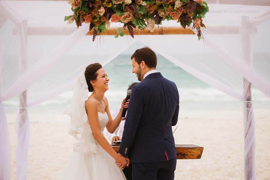 Beach ceremony Lola y Bobby Ana Y Jose Tulum Mexico Wedding
