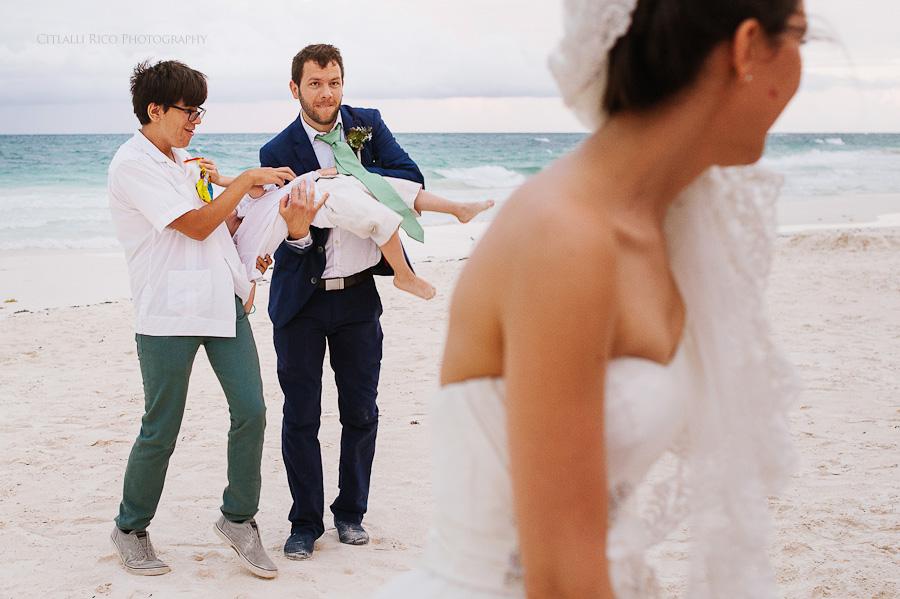 Bride and groom having fun beach wedding Lola y Bobby Ana Y Jose Tulum Mexico Wedding