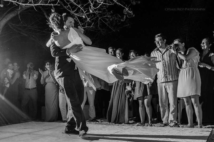 First dance beach wedding Lola y Bobby Ana Y Jose Tulum Mexico Wedding