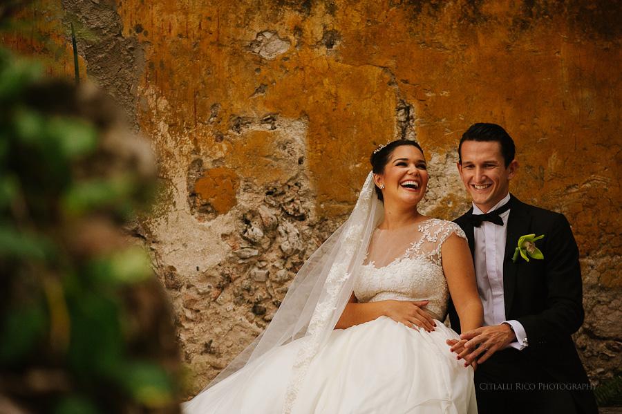 Bride & Groom portrait laughing beautiful texture in Hacienda Wedding