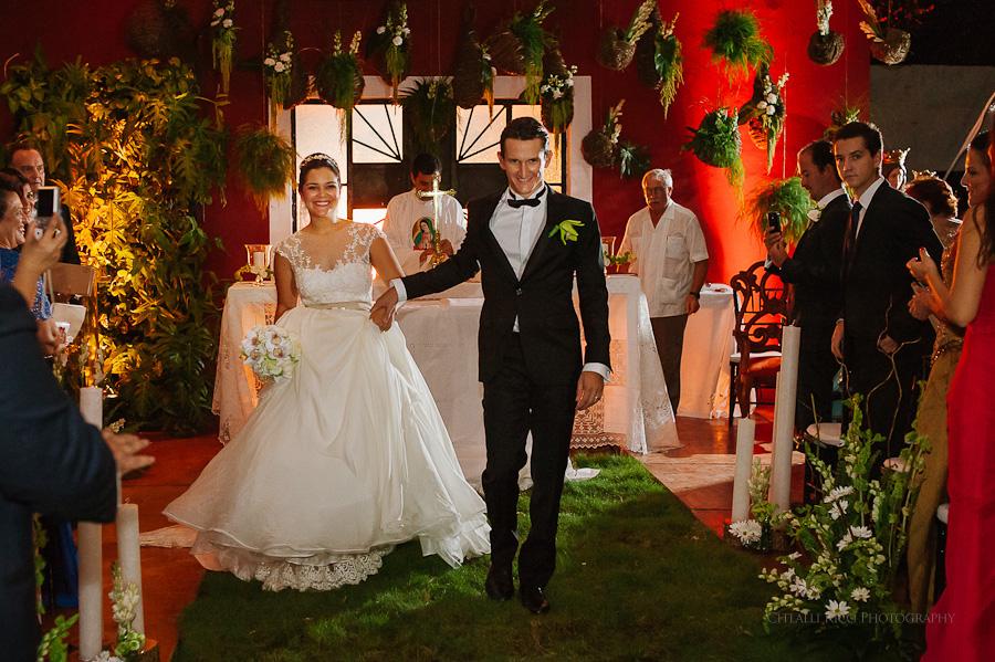 Bride and groom end of ceremony in Mexican Hacienda Wedding