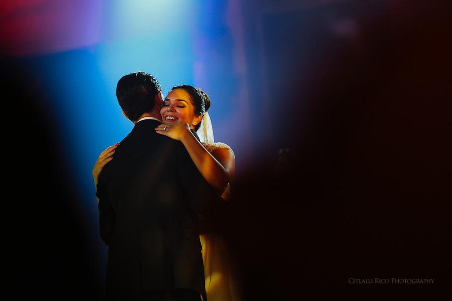 Bride and groom first dance in Hacienda Hunxectaman