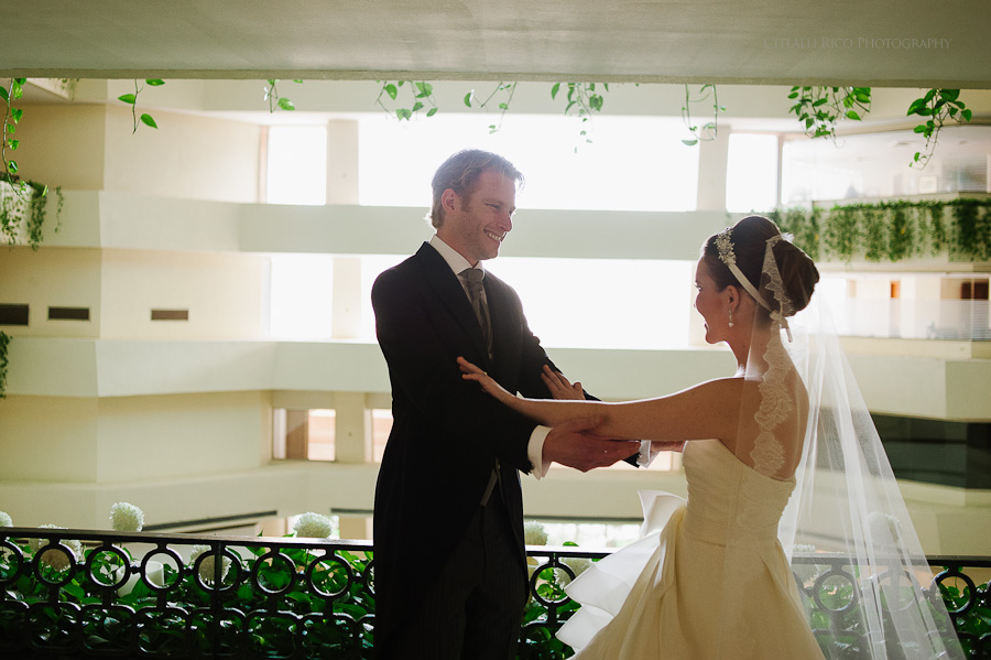 Bride and Groom First Look Happy Mers Axel Coral Beach hotel Cancun Mexico Wedding
