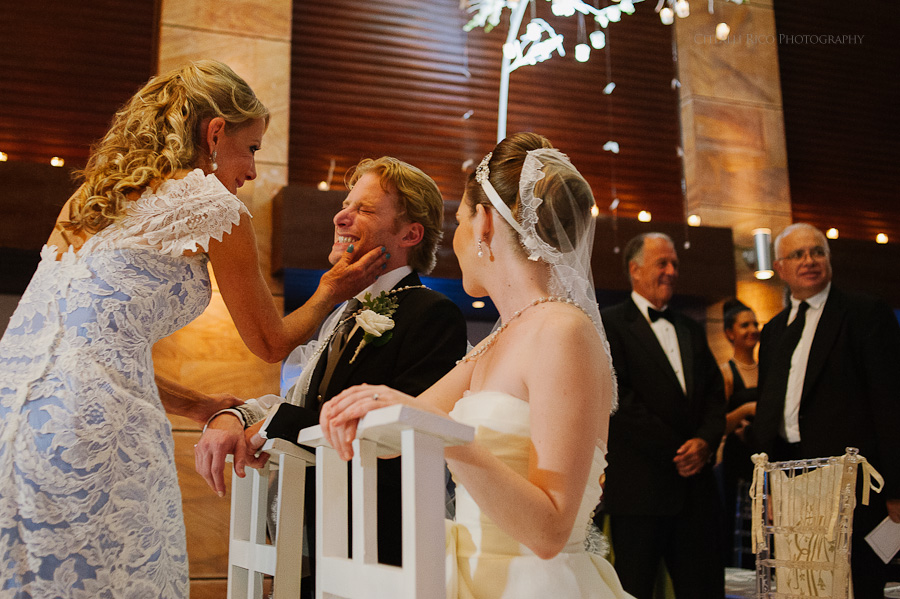 Bride and Groom Ceremony Happiness Mers Axel Coral Beach Hotel Cancun Mexico Wedding