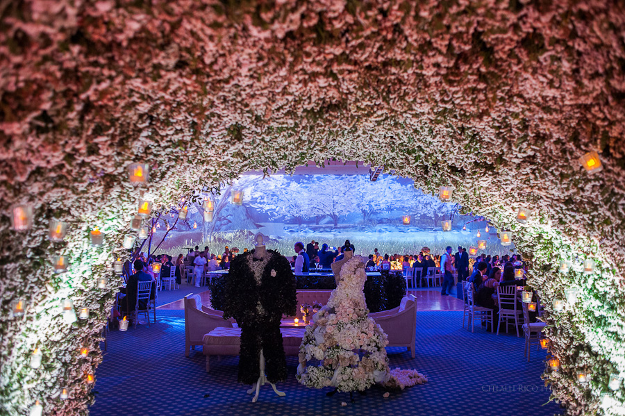 Fairy tale wedding reception Mers Axel Coral Beach Hotel Cancun Mexico Wedding