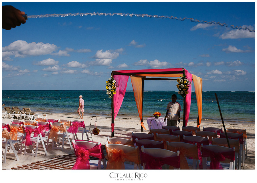Colorful beach wedding location at azul beach ceremony