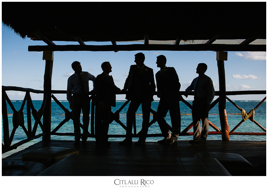 Azul Beach portrait of groom and groomsmen silohuettes