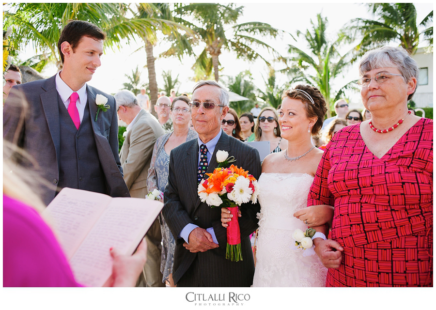 First look of bride and groom at ceremony in Azul Beach