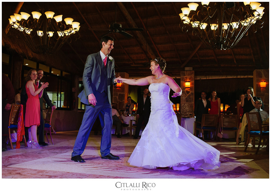 First dance in the palapa restaurant at Azul Beach wedding