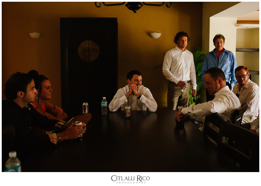 Groom-Getting-Readdy-Friends-TG-Villa-Carola-Riviera-Maya-Mexico