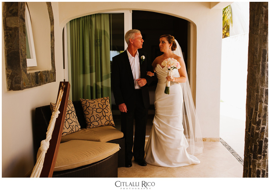Bride-prior-tho-the-ceremony-emotional-father-TG-Villa-Carola-Riviera-Maya-Mexico