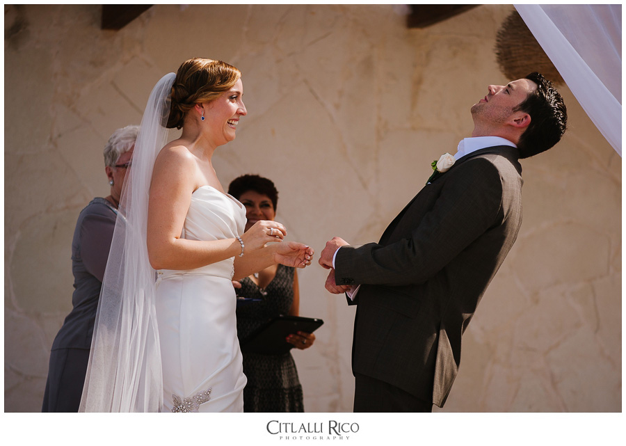 Bride-Groom-Exchanging-Rings-Funny-TG-Villa-Carola-Riviera-Maya-Mexico